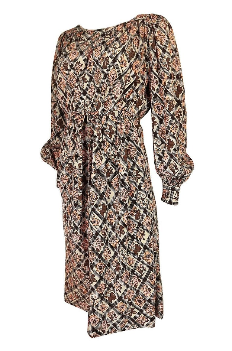 Brown Early 1970s Emanuel Ungaro Haute Couture Printed Silk Day Dress For Sale