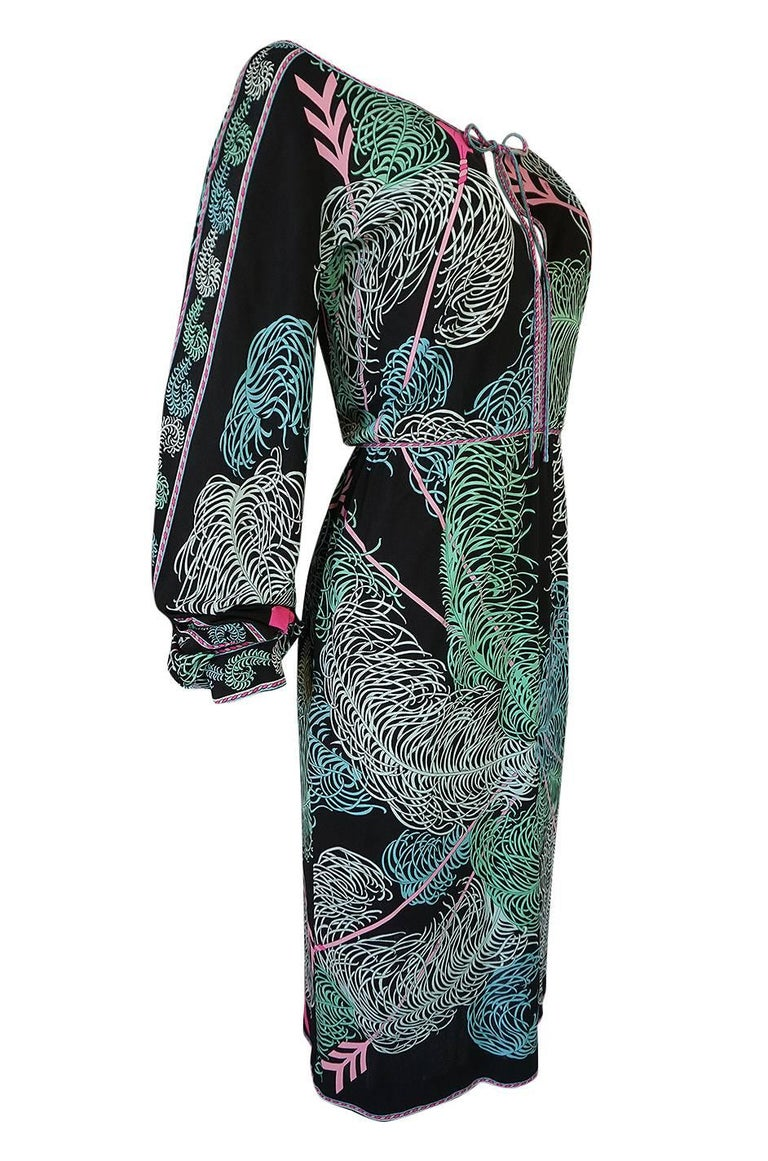 Black Emilio Pucci Feather Print Off Shoulder Silk Jersey Dress, 1960s  For Sale