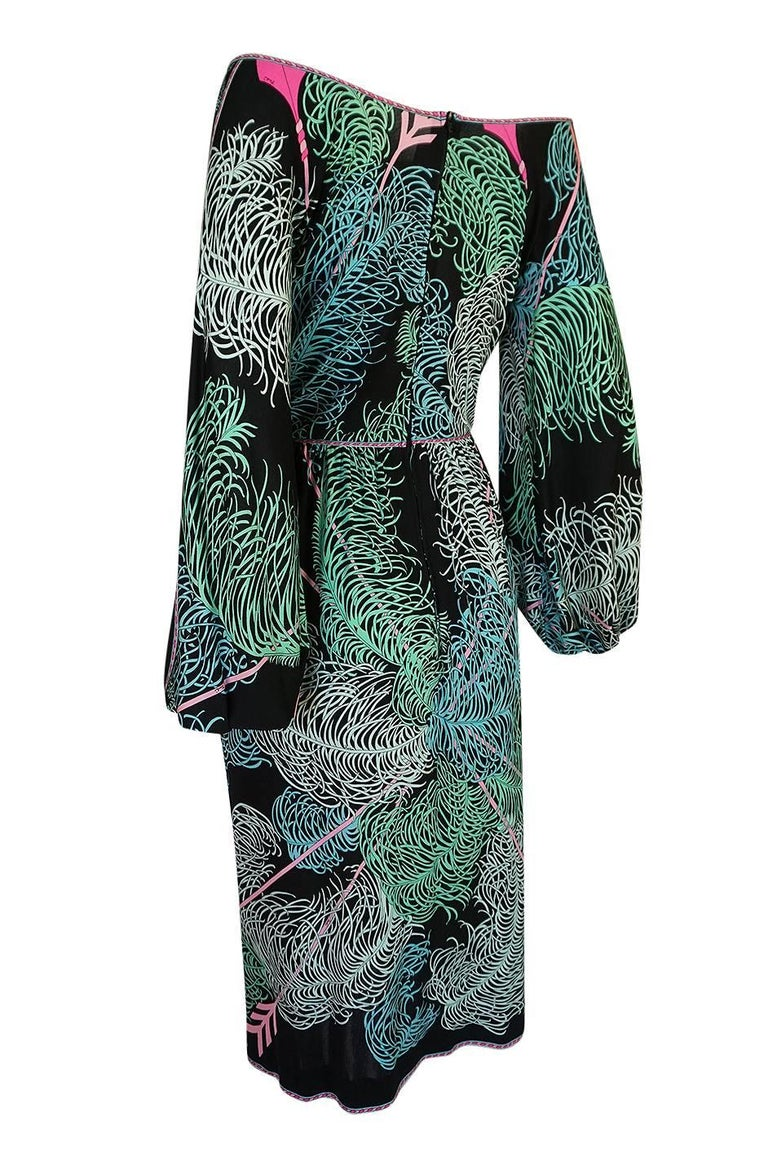 Women's Emilio Pucci Feather Print Off Shoulder Silk Jersey Dress, 1960s  For Sale