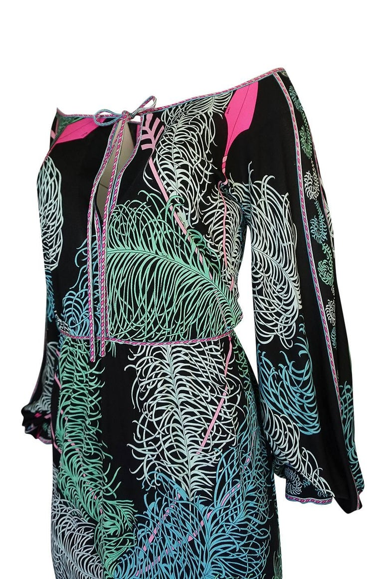Emilio Pucci Feather Print Off Shoulder Silk Jersey Dress, 1960s  For Sale 3