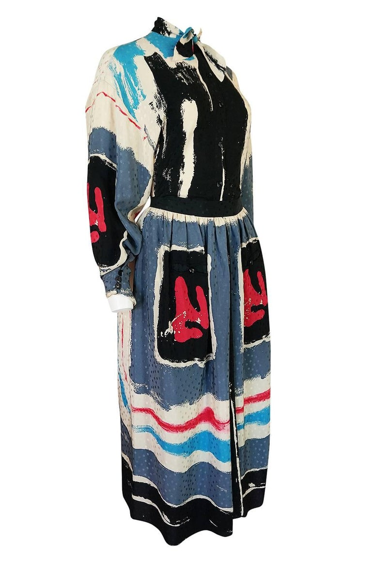 Black 1980s Michaele Vollbracht Too Printed Silk Skirt & Top Set For Sale