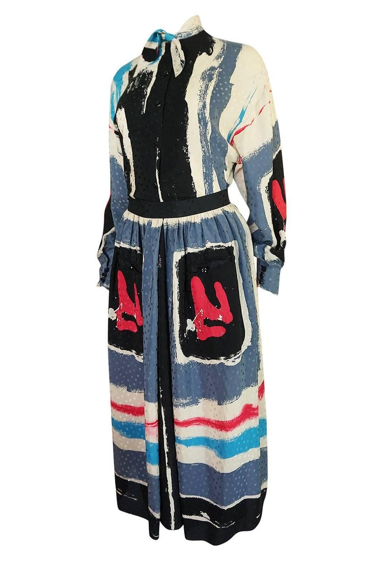 1980s Michaele Vollbracht Too Printed Silk Skirt & Top Set In Excellent Condition For Sale In Toronto, ON