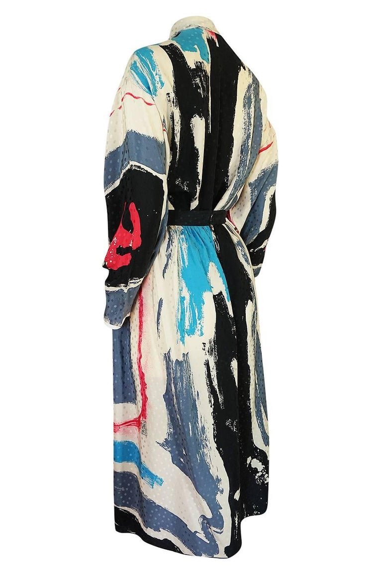 Women's 1980s Michaele Vollbracht Too Printed Silk Skirt & Top Set For Sale