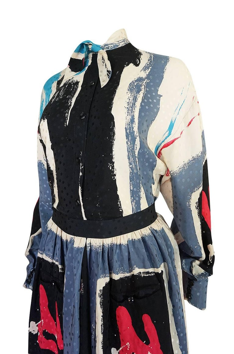 1980s Michaele Vollbracht Too Printed Silk Skirt & Top Set For Sale 2