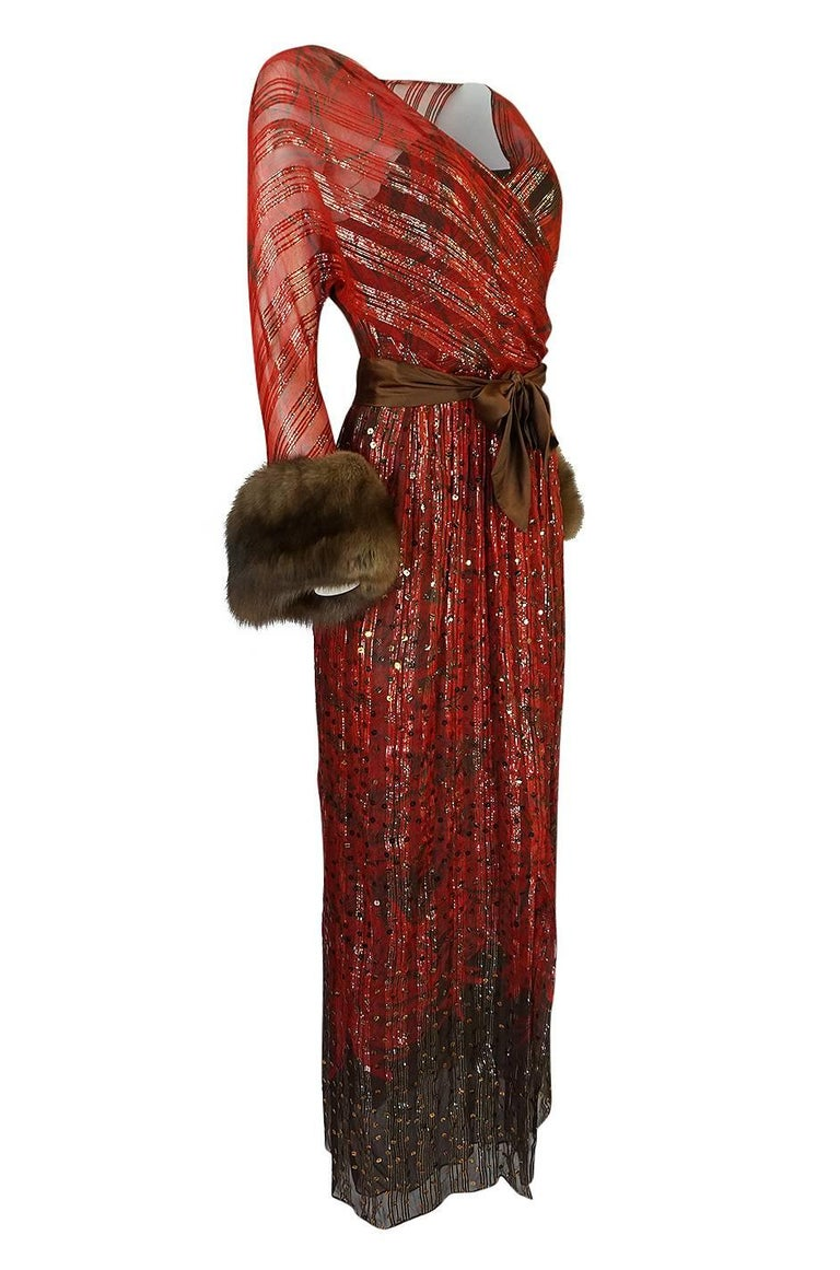 Brown 1979 Bill Blass Hand Sequin Gold and Red Silk Chiffon Dress For Sale