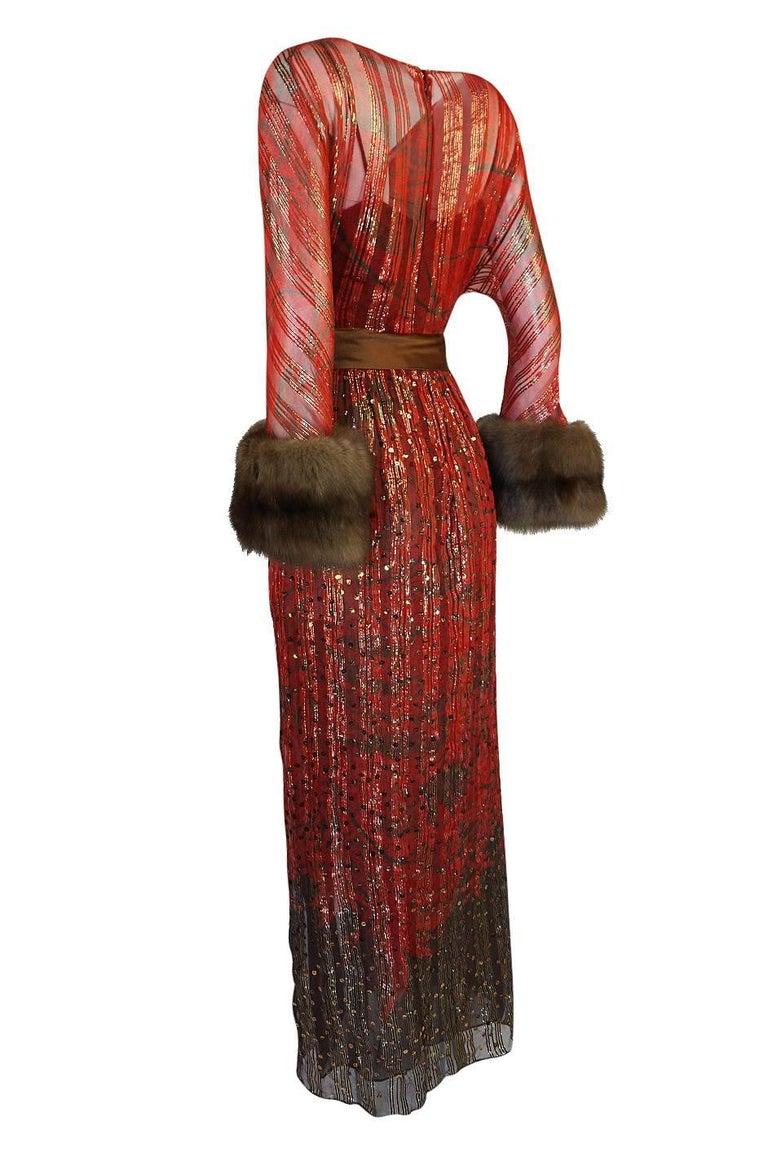 Women's 1979 Bill Blass Hand Sequin Gold and Red Silk Chiffon Dress For Sale