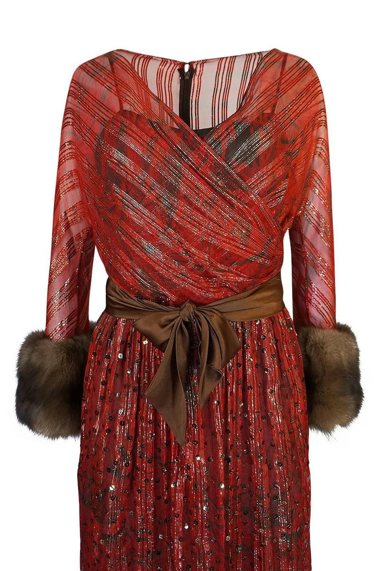 1979 Bill Blass Hand Sequin Gold and Red Silk Chiffon Dress For Sale 1