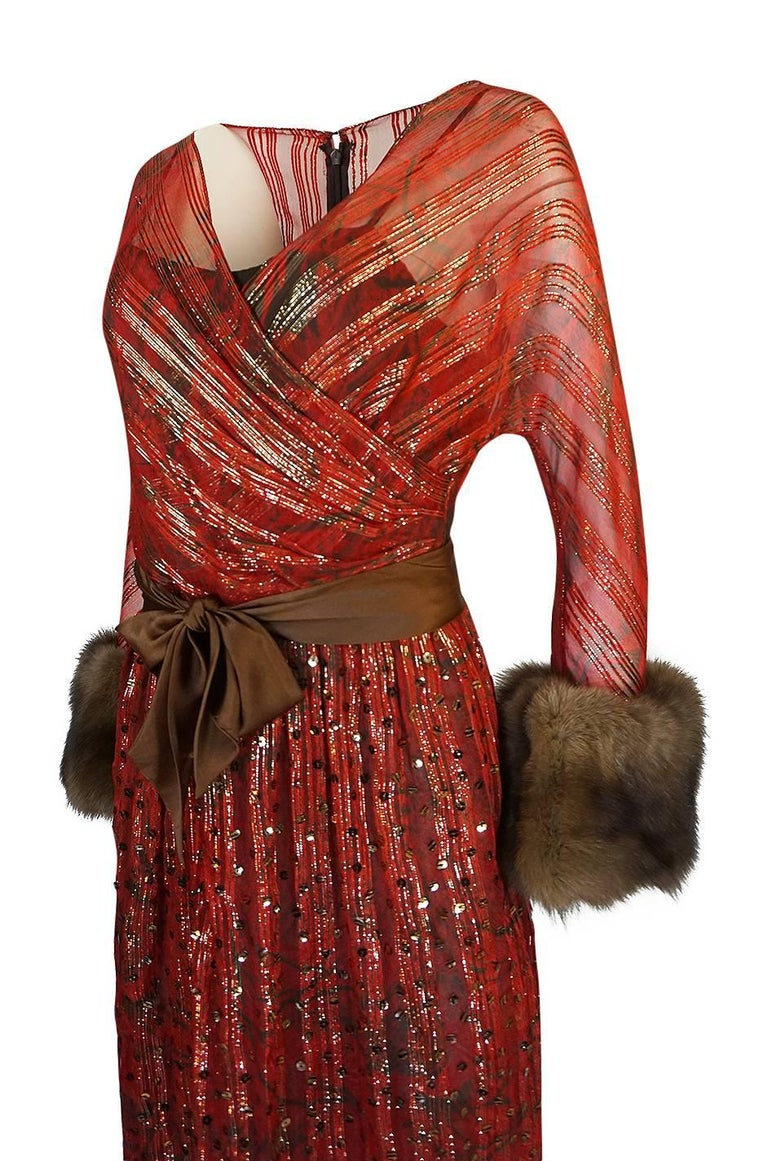 1979 Bill Blass Hand Sequin Gold and Red Silk Chiffon Dress For Sale 2