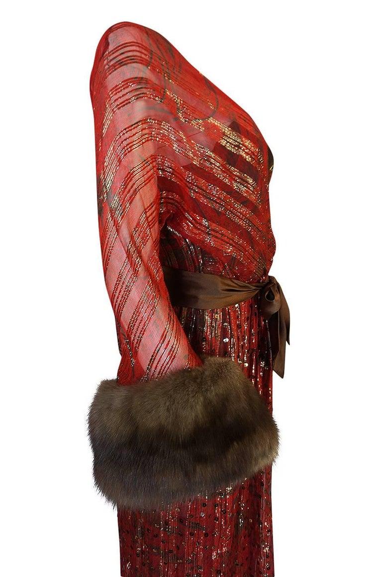 1979 Bill Blass Hand Sequin Gold and Red Silk Chiffon Dress For Sale 3