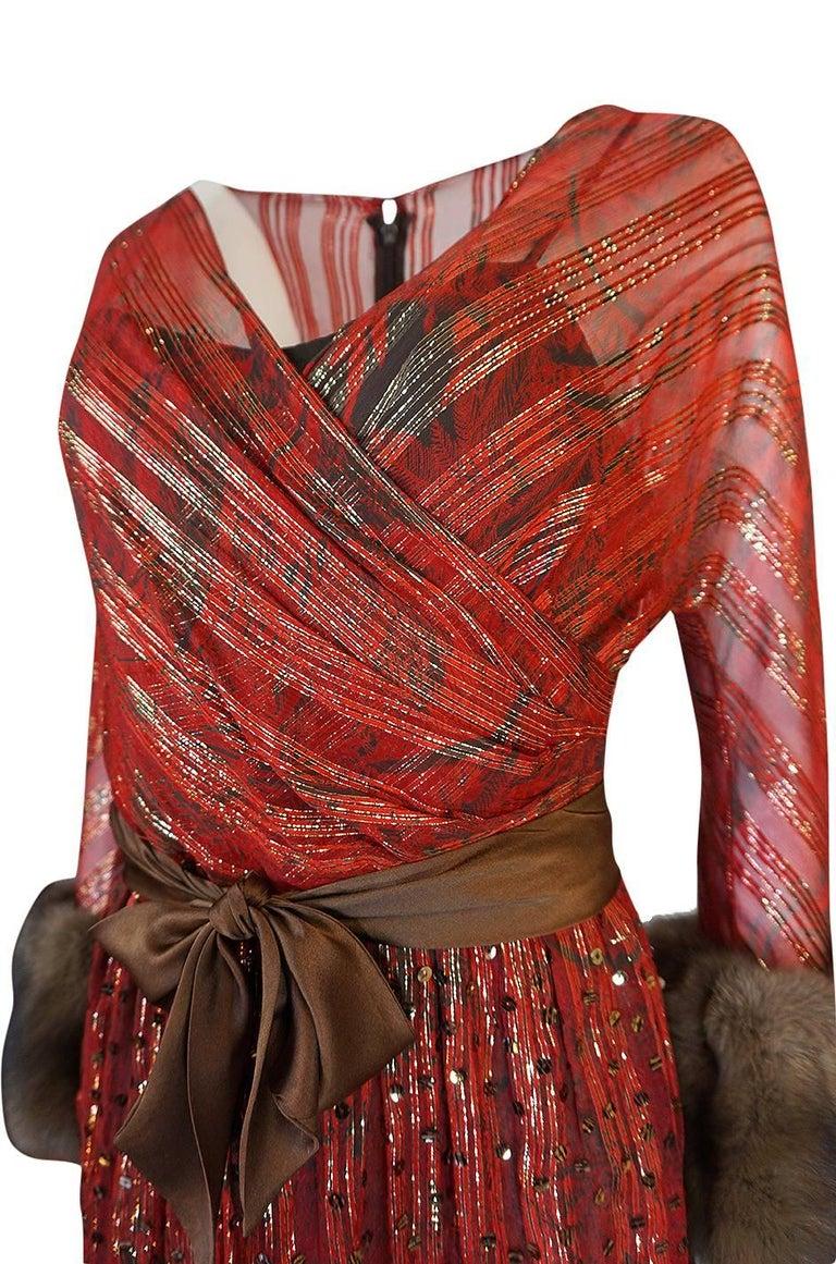 1979 Bill Blass Hand Sequin Gold and Red Silk Chiffon Dress For Sale 4