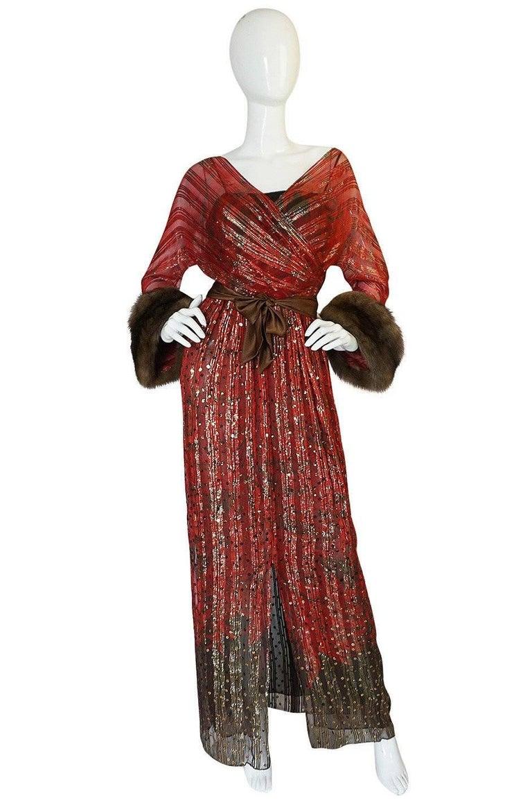 1979 Bill Blass Hand Sequin Gold and Red Silk Chiffon Dress For Sale 6