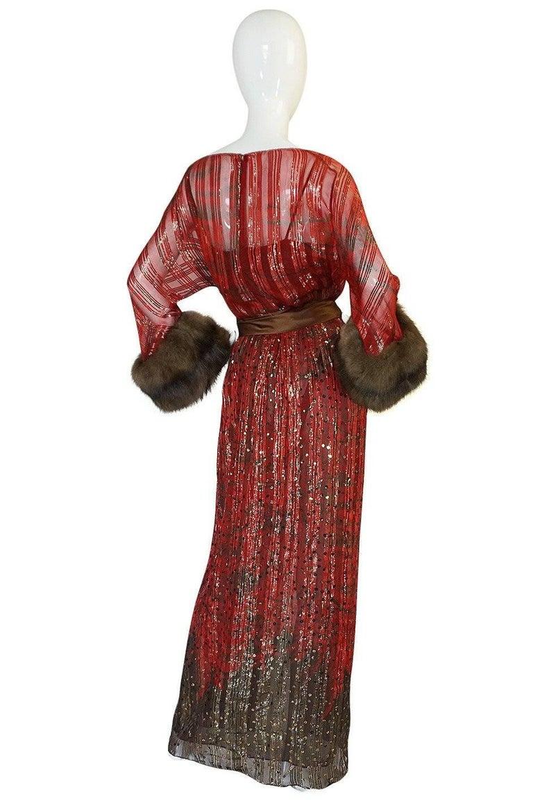 1979 Bill Blass Hand Sequin Gold and Red Silk Chiffon Dress For Sale 7