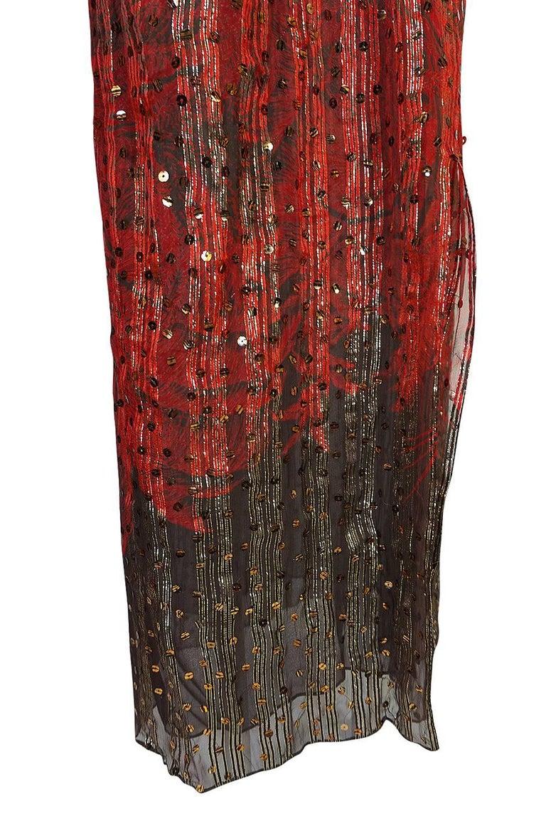 1979 Bill Blass Hand Sequin Gold and Red Silk Chiffon Dress For Sale 5