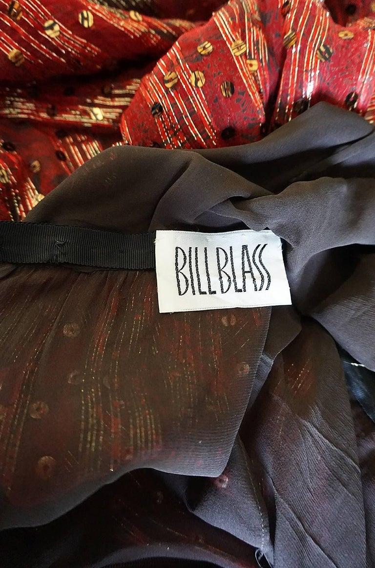 1979 Bill Blass Hand Sequin Gold and Red Silk Chiffon Dress For Sale 8