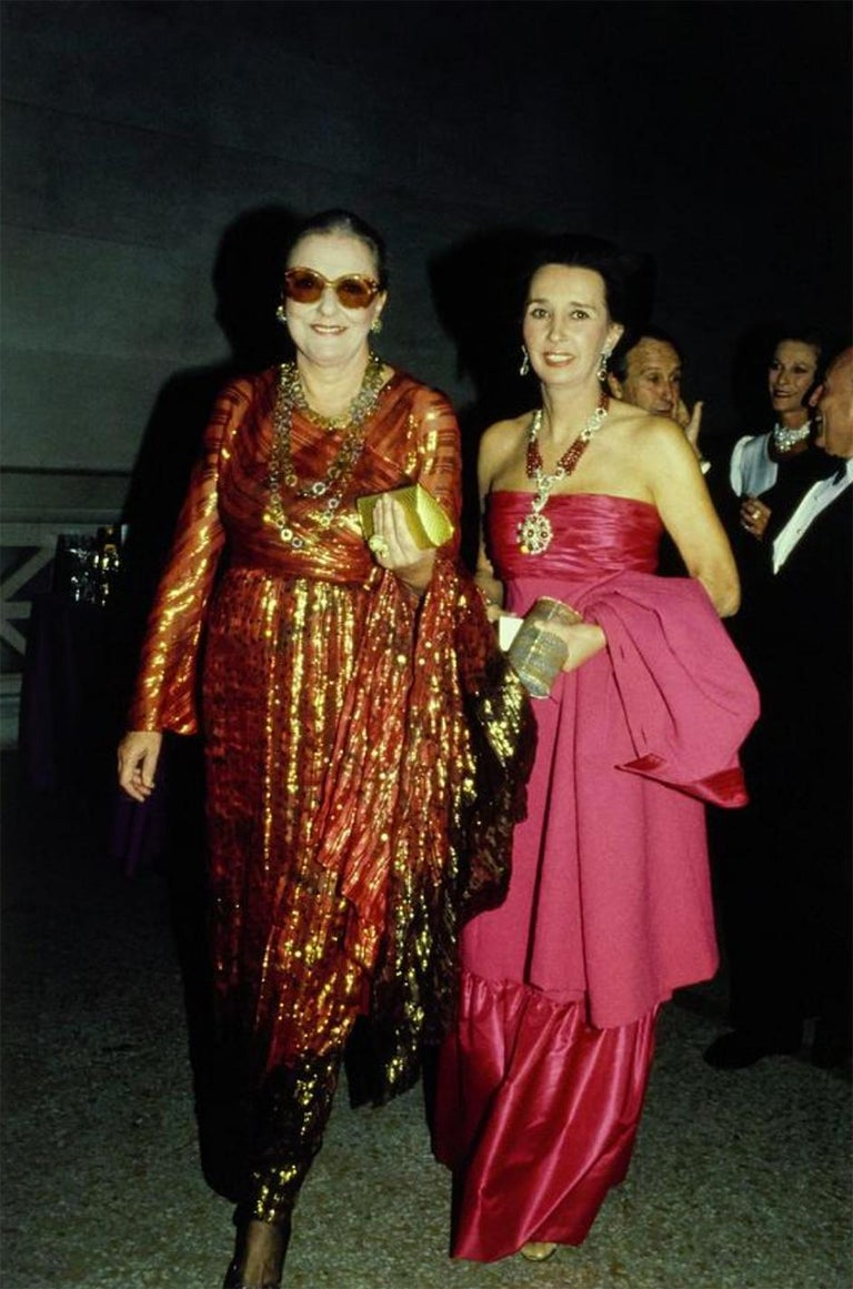 1979 Bill Blass Hand Sequin Gold and Red Silk Chiffon Dress For Sale 9