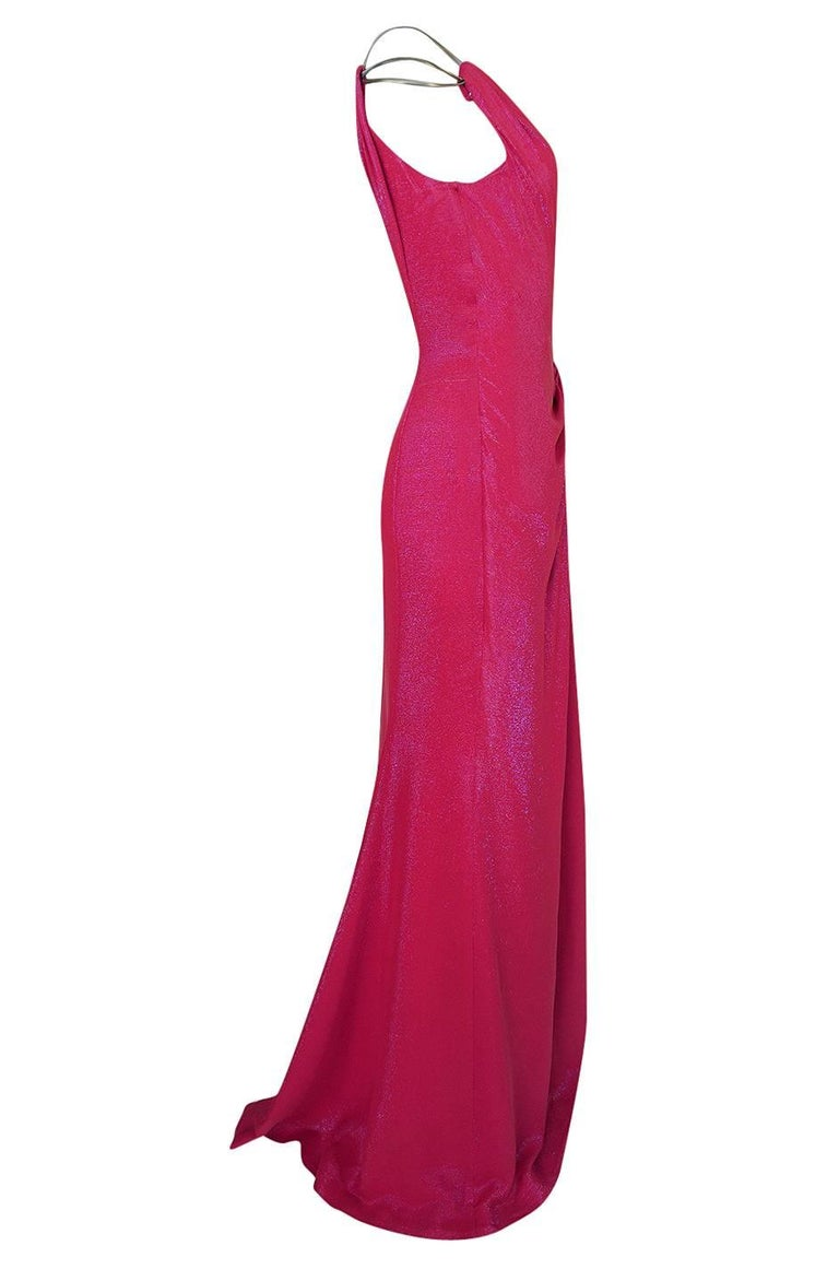 Thierry Mugler Couture Iridescent Pink Lurex One Shoulder Dress, 1990s  In Excellent Condition For Sale In Toronto, ON
