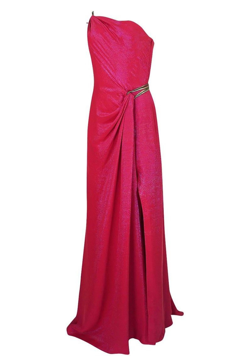 Women's Thierry Mugler Couture Iridescent Pink Lurex One Shoulder Dress, 1990s  For Sale
