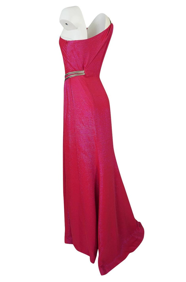 Thierry Mugler Couture Iridescent Pink Lurex One Shoulder Dress, 1990s  For Sale 1