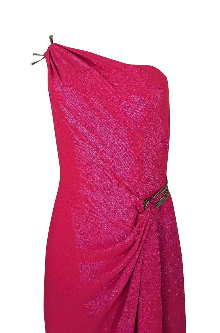 Thierry Mugler Couture Iridescent Pink Lurex One Shoulder Dress, 1990s  For Sale 2