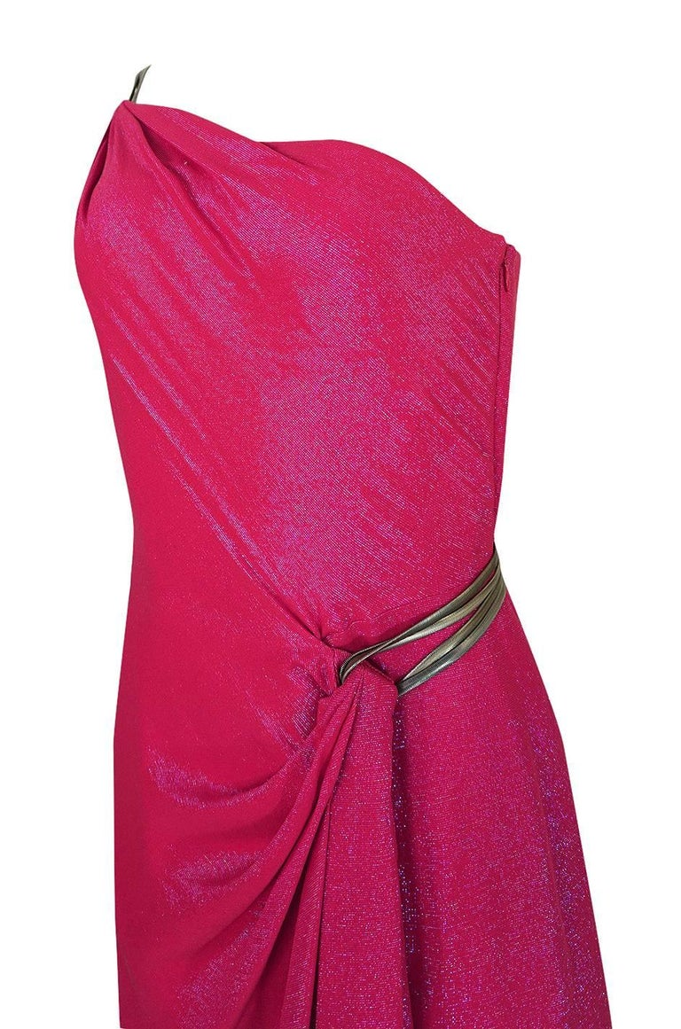 Thierry Mugler Couture Iridescent Pink Lurex One Shoulder Dress, 1990s  For Sale 3