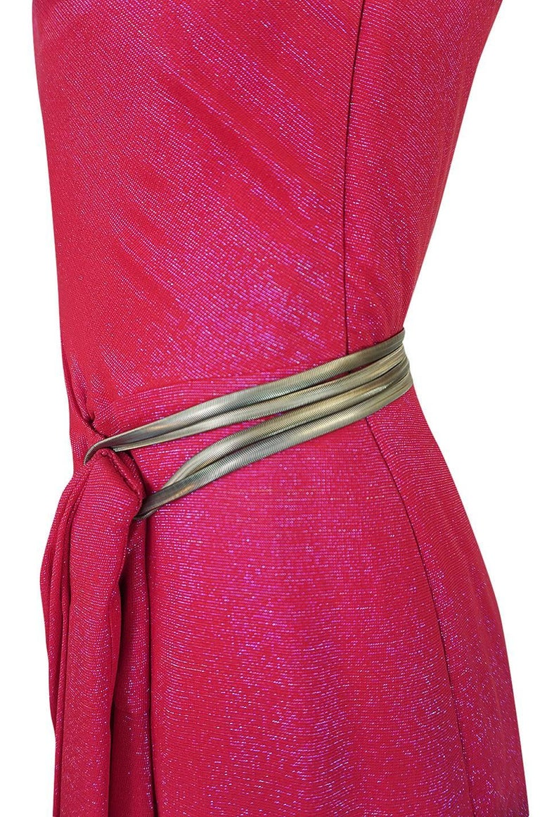 Thierry Mugler Couture Iridescent Pink Lurex One Shoulder Dress, 1990s  For Sale 4
