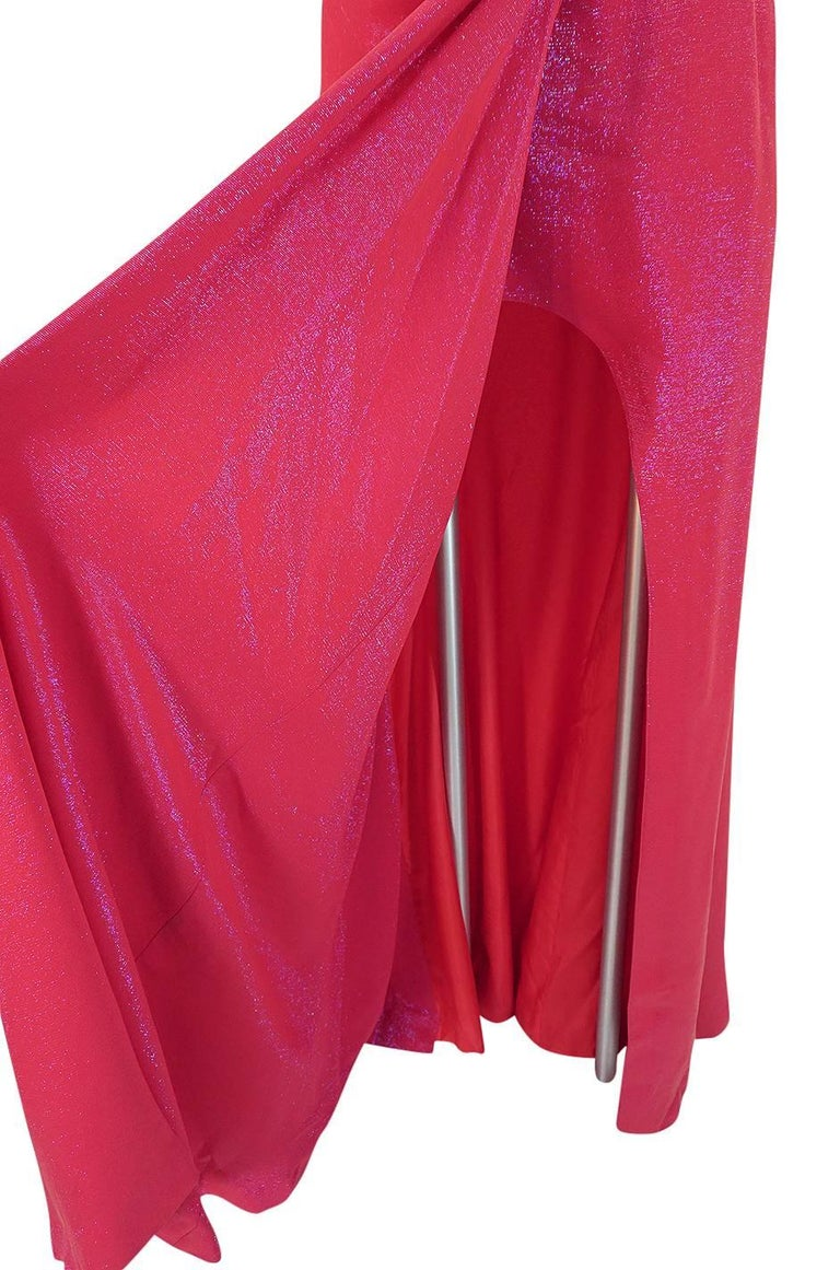 Thierry Mugler Couture Iridescent Pink Lurex One Shoulder Dress, 1990s  For Sale 6