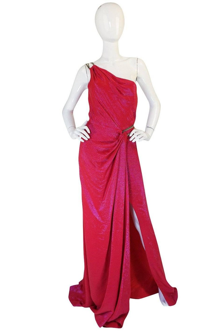 Thierry Mugler Couture Iridescent Pink Lurex One Shoulder Dress, 1990s  For Sale 7
