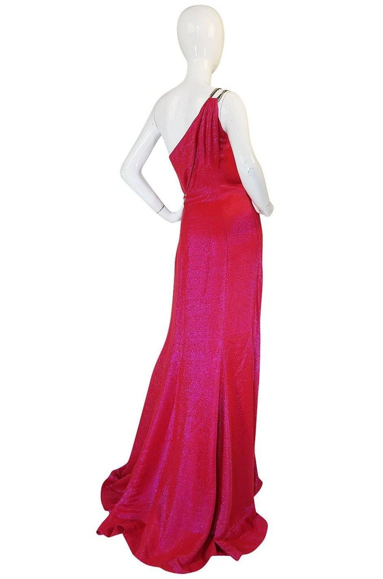 Thierry Mugler Couture Iridescent Pink Lurex One Shoulder Dress, 1990s  For Sale 8