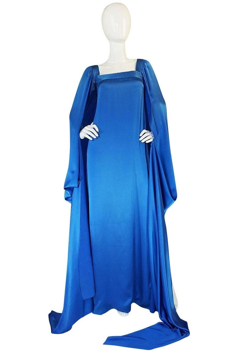 Christian Dior by Marc Bohan Haute Couture Silk Angel Sleeve Dress, Fall 1978  For Sale 4
