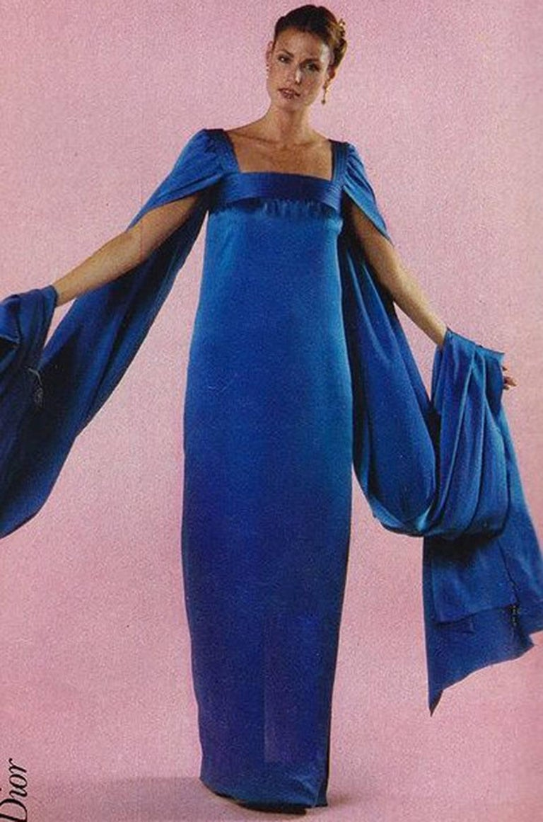Christian Dior by Marc Bohan Haute Couture Silk Angel Sleeve Dress, Fall 1978  For Sale 10