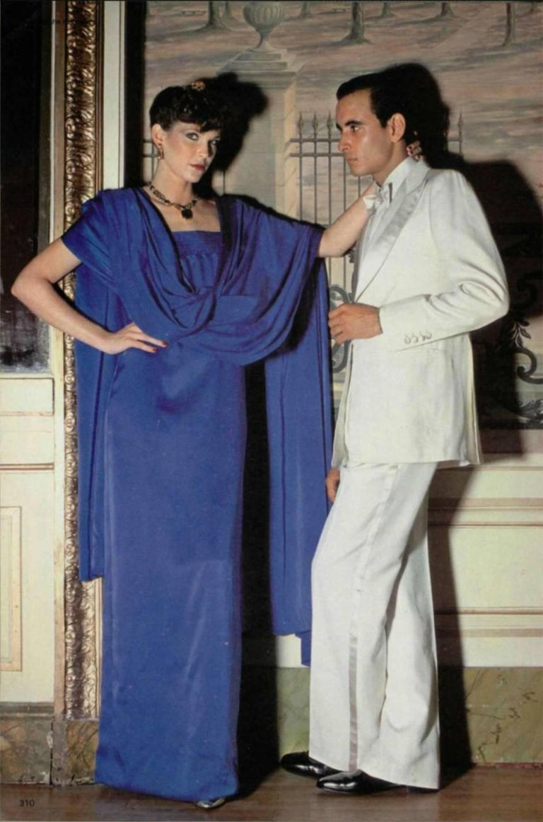 Christian Dior by Marc Bohan Haute Couture Silk Angel Sleeve Dress, Fall 1978  For Sale 11