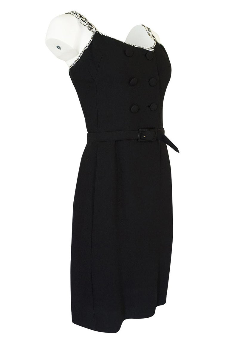 Black 1960s Christian Dior Numbered Demi-Couture Dress w Crystal Straps For Sale