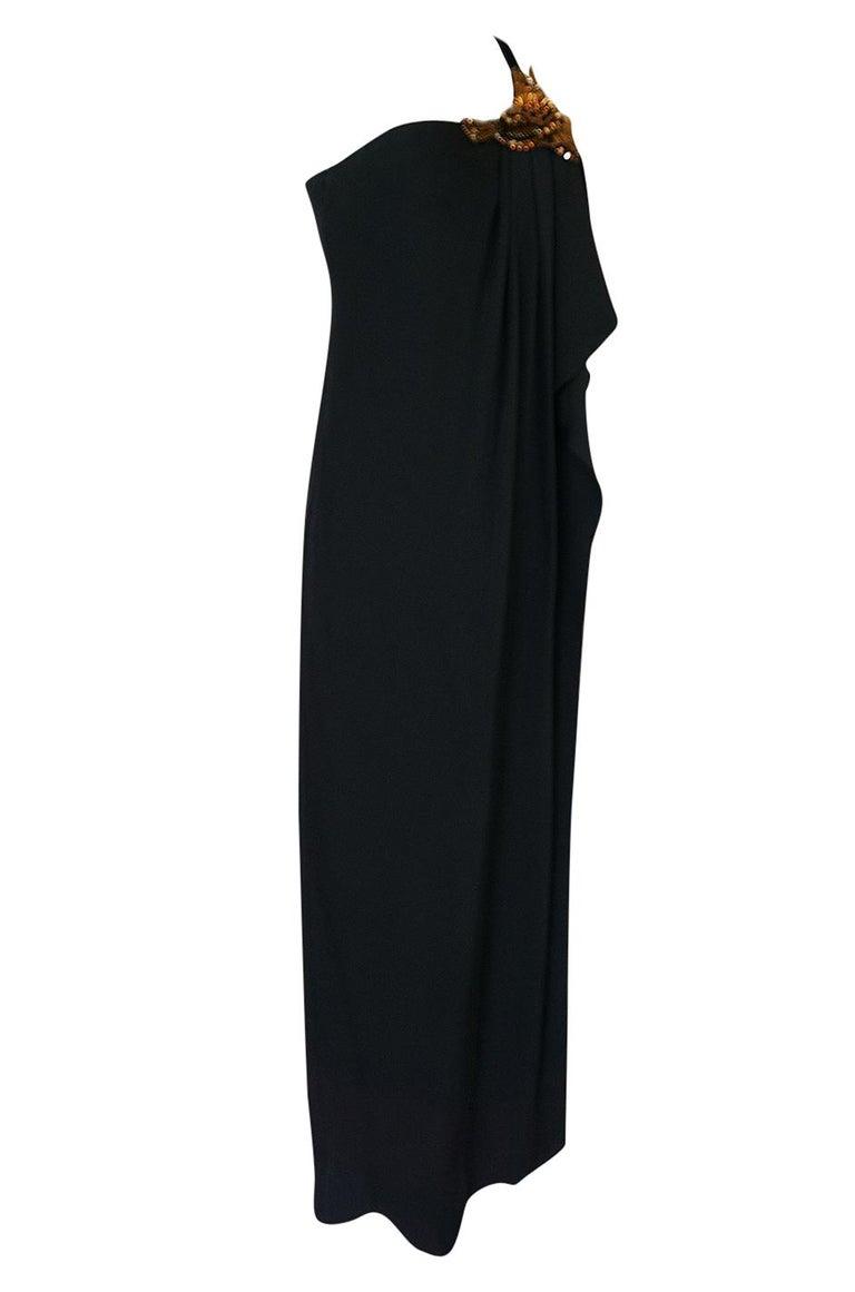 Black Pre-Fall 2012 Gucci Embellished One Shoulder Ad Campaign Dress For Sale