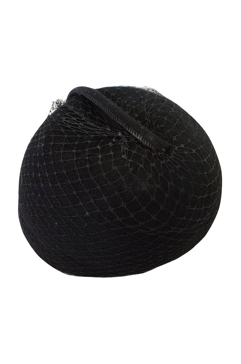 1970s Halston Black Felt and Netted Rounded Pill Box Hat For Sale 1