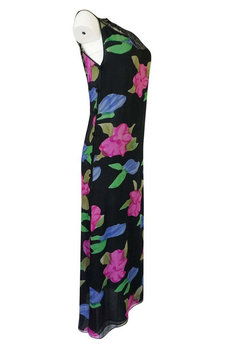 Black James Galanos Floral Print Silk and Lace Inserts Dress, 1970s  For Sale
