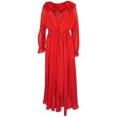 c.1974 Halston Bias Cut Red Silk Chiffon Ruffle Collar & Cuff Dress