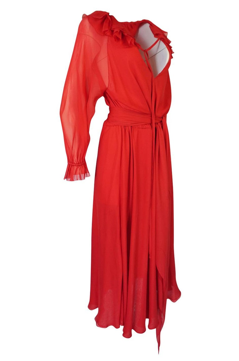 c.1974 Halston Bias Cut Red Silk Chiffon Ruffle Collar & Cuff Dress In Excellent Condition For Sale In Rockwood, ON
