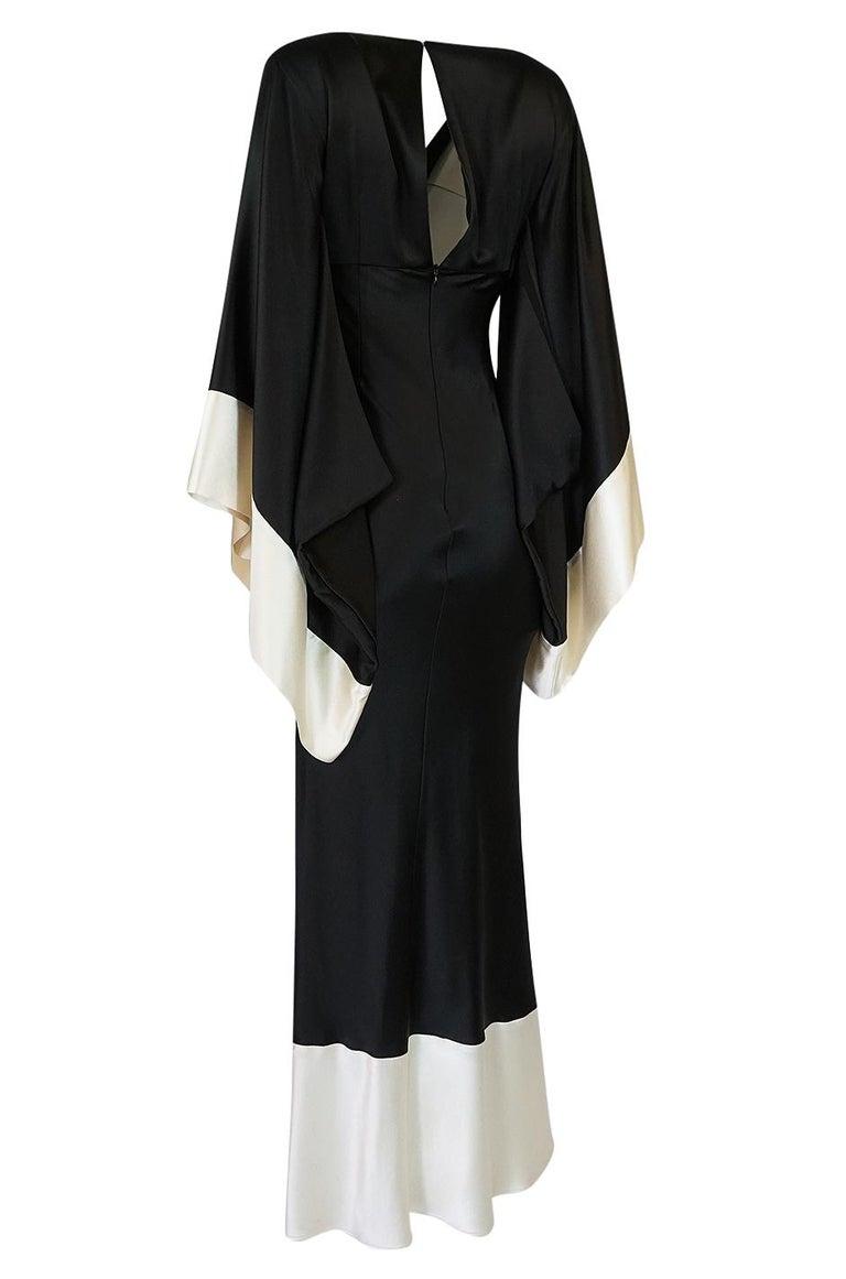 Recent Alexander McQueen Kimono Sleeve Black & White Silk Dress For Sale 1