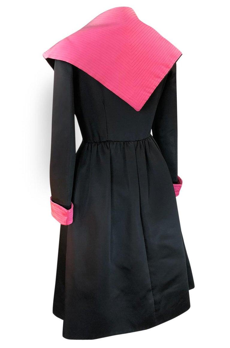 1960s Geoffrey Beene Fitted Pink Collar & Cuffs Black Coat Dress For Sale 1