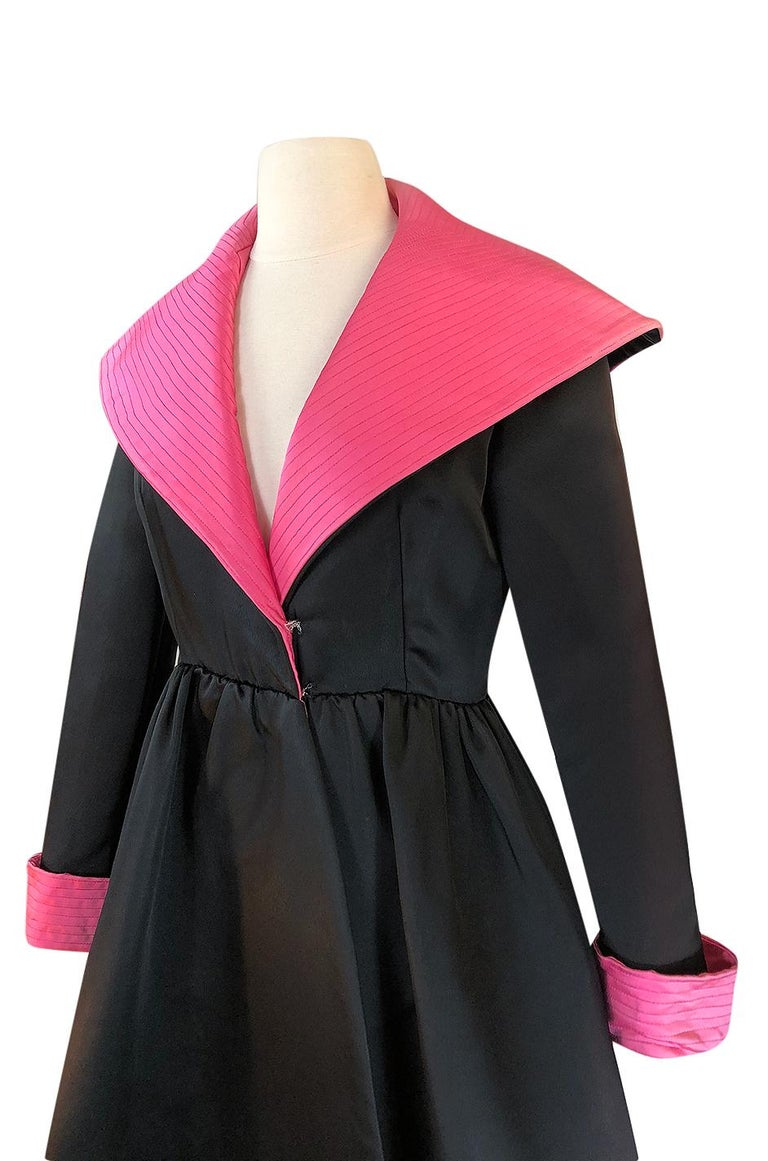 1960s Geoffrey Beene Fitted Pink Collar & Cuffs Black Coat Dress For Sale 3