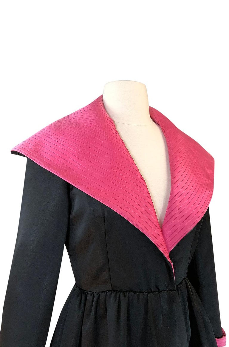 1960s Geoffrey Beene Fitted Pink Collar & Cuffs Black Coat Dress For Sale 4