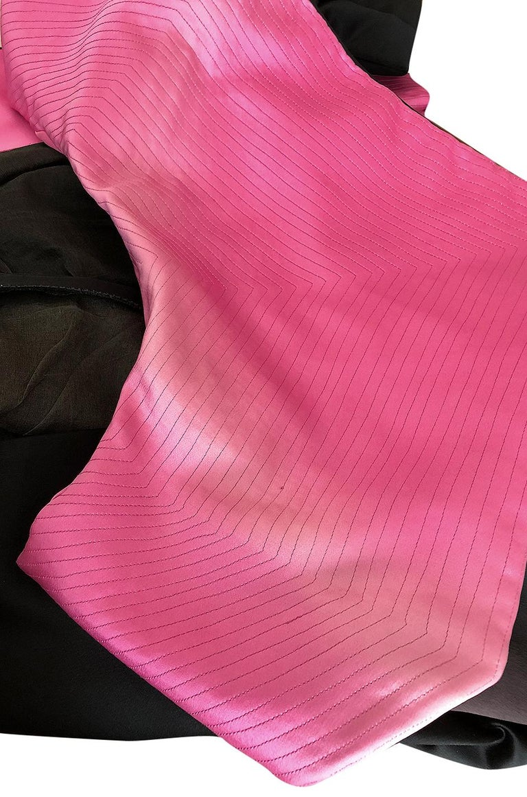 1960s Geoffrey Beene Fitted Pink Collar & Cuffs Black Coat Dress For Sale 7