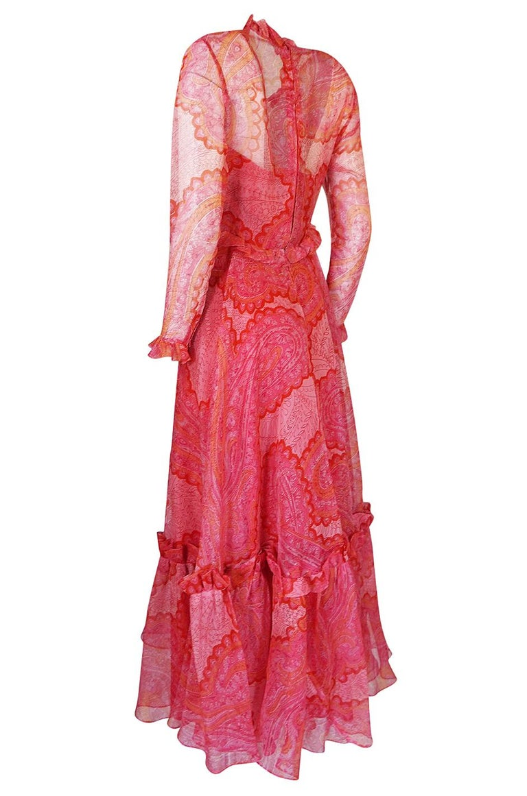 Nina Ricci Silk Voile Pink Paisley Print Ruffle Trim Dress, circa 1976 For Sale 1