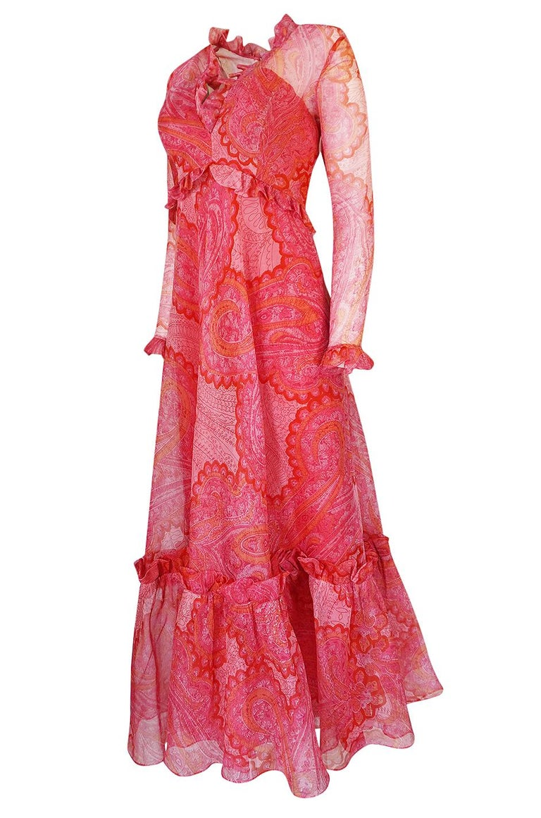 Women's Nina Ricci Silk Voile Pink Paisley Print Ruffle Trim Dress, circa 1976 For Sale