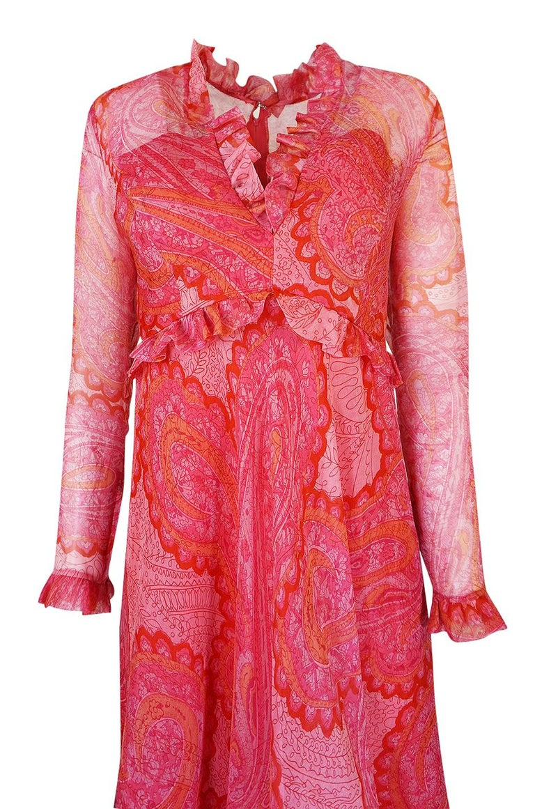 Nina Ricci Silk Voile Pink Paisley Print Ruffle Trim Dress, circa 1976 For Sale 2