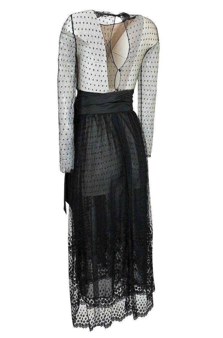 Bill Blass Couture Black Silk Swiss Dot Net Dress, 1978 For Sale 1