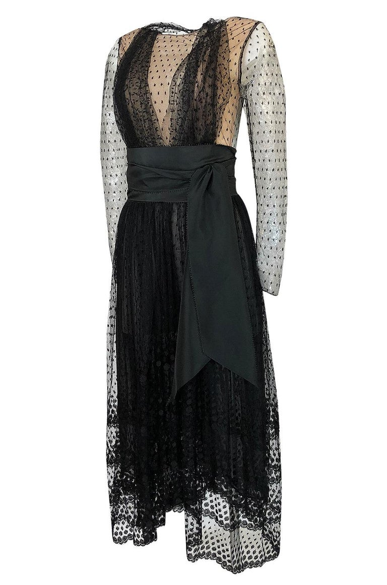 Women's Bill Blass Couture Black Silk Swiss Dot Net Dress, 1978 For Sale