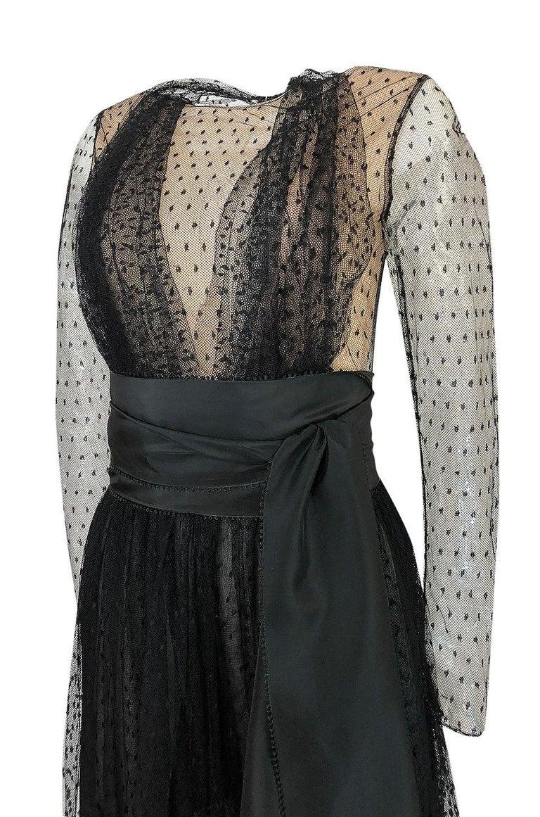 Bill Blass Couture Black Silk Swiss Dot Net Dress, 1978 For Sale 2