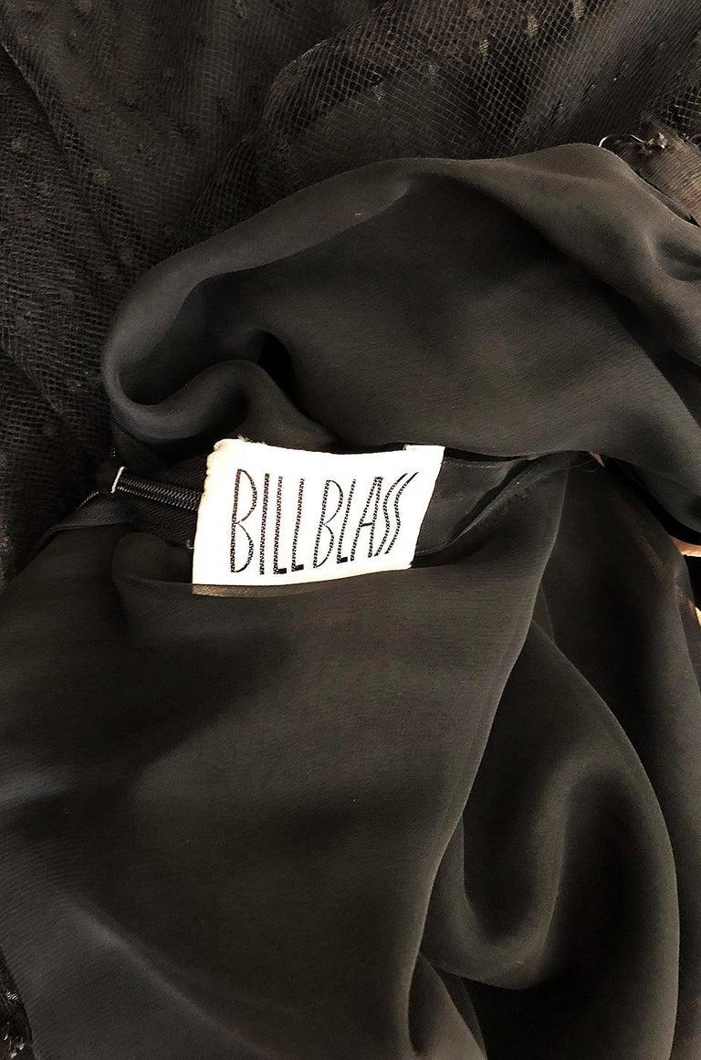 Bill Blass Couture Black Silk Swiss Dot Net Dress, 1978 For Sale 5