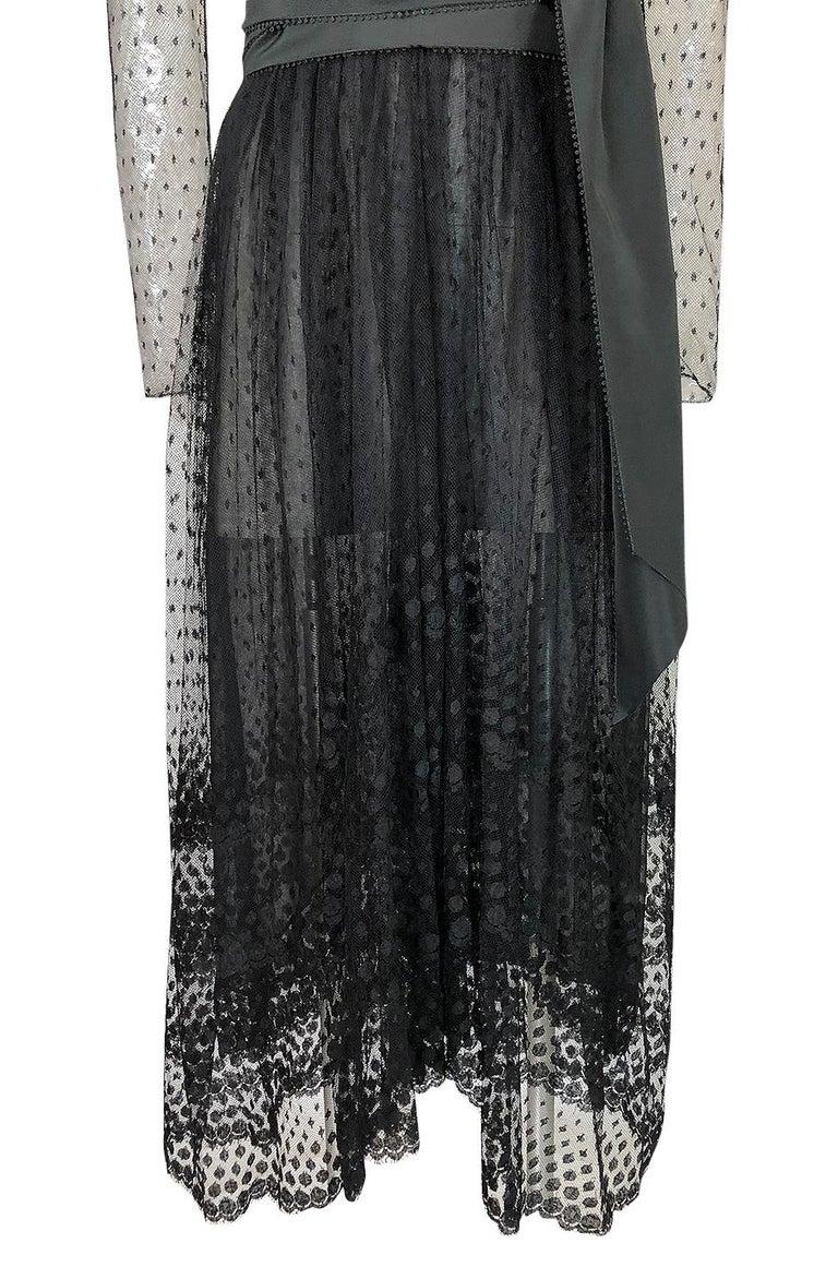 Bill Blass Couture Black Silk Swiss Dot Net Dress, 1978 For Sale 4